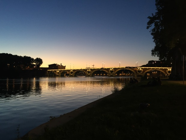Garonne River at Night Toulouse France