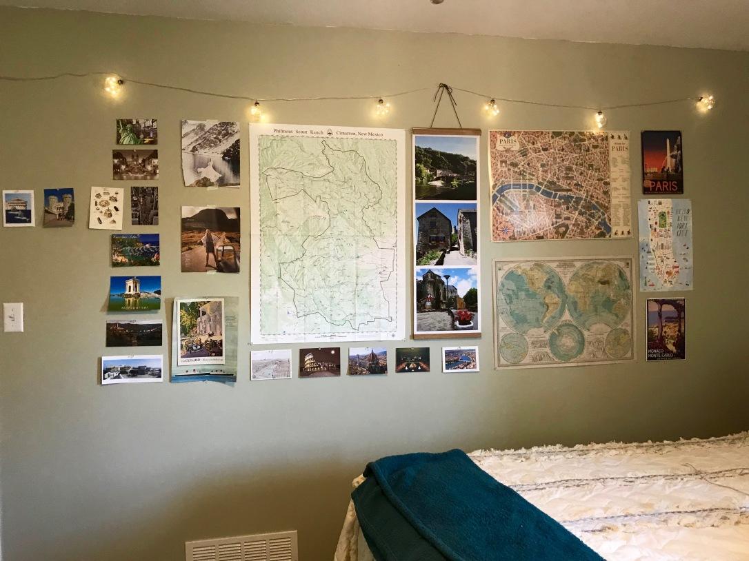 Round Trip Travel Wall Art Design Post Card Map